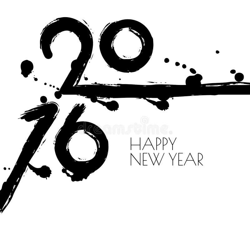 Vektor-Grußkarte des guten Rutsch ins Neue Jahr 2016 mit Schwarzweiss--wa stock abbildung