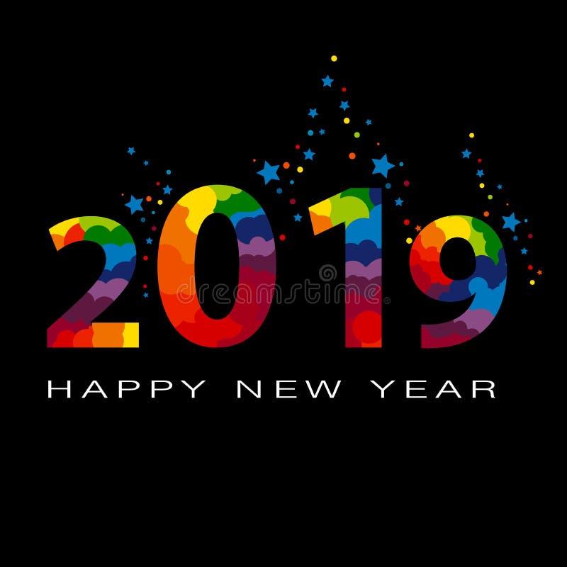 Vektor 2019-guten Rutsch ins Neue Jahr-Hintergrund mit farbigem Lametta lizenzfreie abbildung