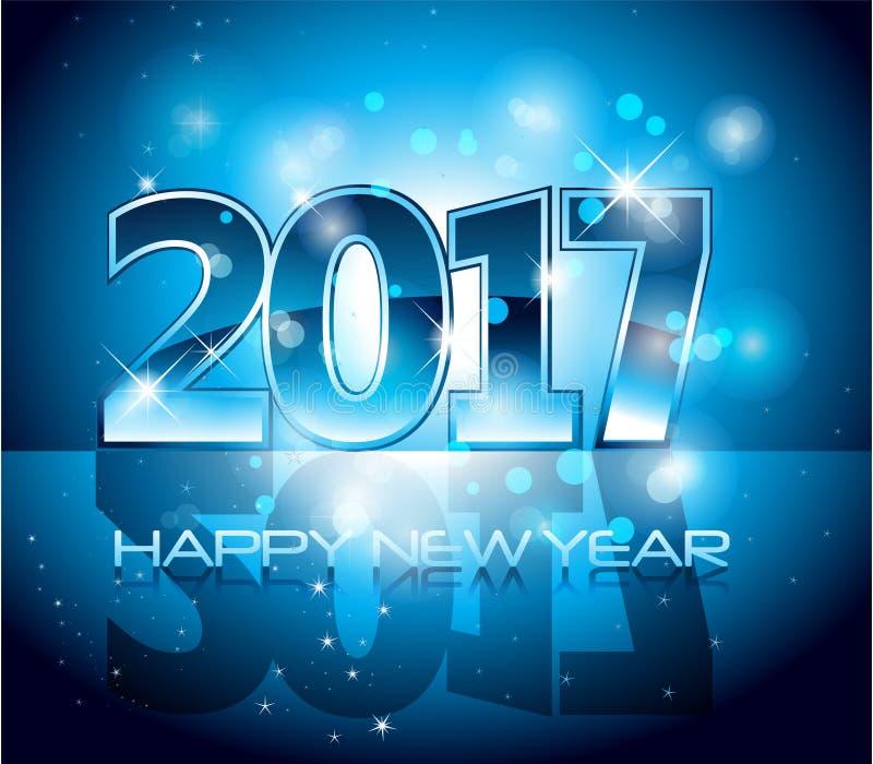 Vektor 2017-guten Rutsch ins Neue Jahr-Hintergrundblaubuchstaben stock abbildung