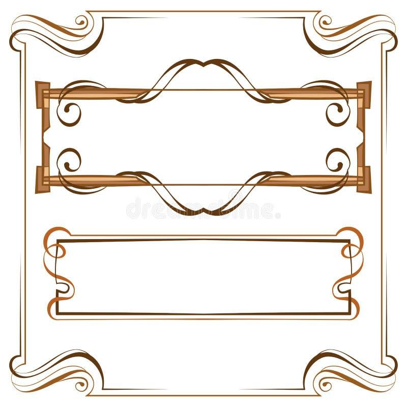 vektor Härlig elegant ram för tappning Uppsättning av beståndsdelar för des stock illustrationer