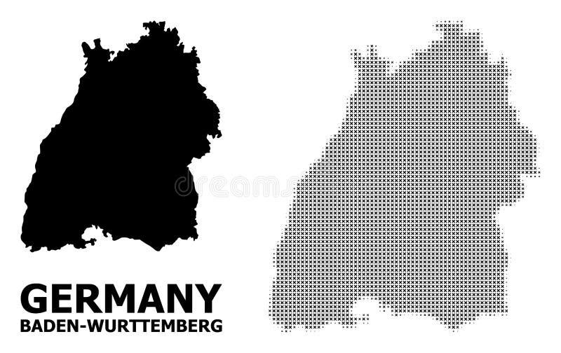 Vektor-Halbtonmosaik und feste Karte von Baden-Wurttembergzustand lizenzfreie abbildung