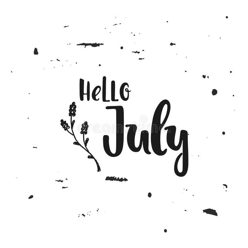 Vektor hallo Juli stock abbildung