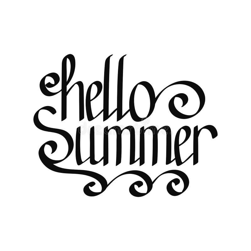 Vektor-hallo Sommer-Handbeschriftung vektor abbildung