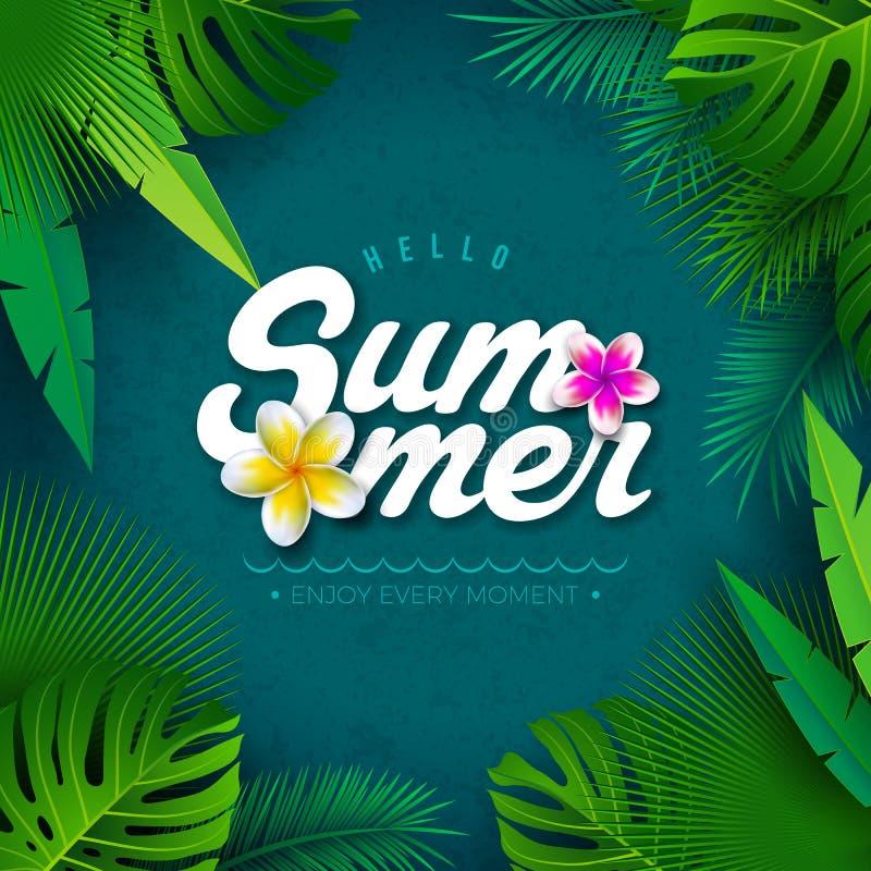 Vektor-hallo Sommer-Illustration mit Typografie-Buchstaben und tropische Palmblätter auf blauem Hintergrund Exotische Anlagen und stock abbildung