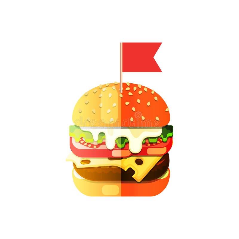 Vektor-Hamburger-flacher Entwurf in der Karikatur-Art lizenzfreie abbildung