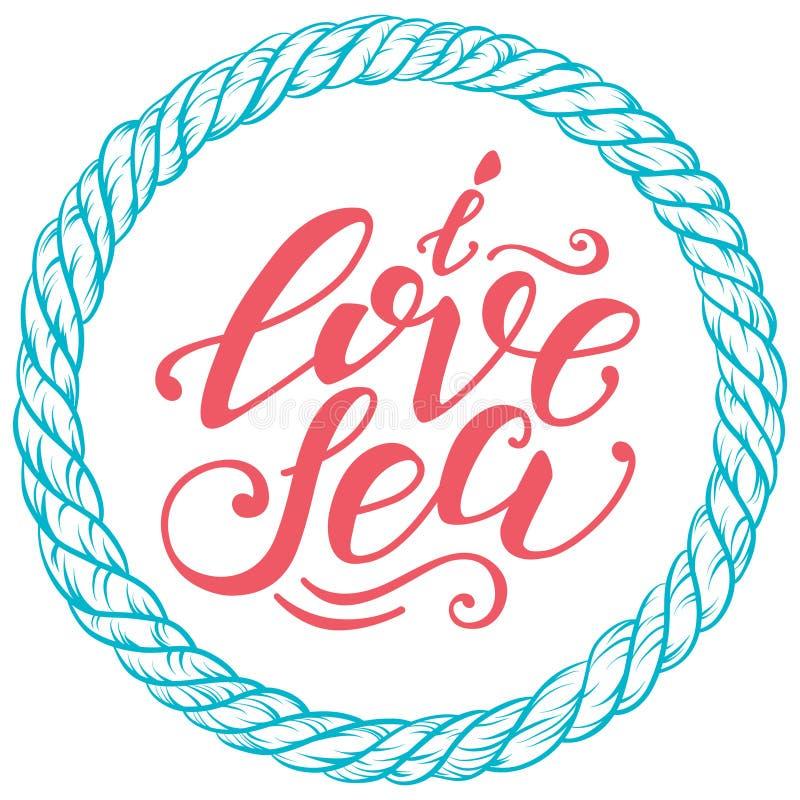 Vektor hand-dragen bokstäver Förälskelsehavet för citationstecken I kan vara bruk för tryck, designaffischer, t-skjortan och tyg, royaltyfri illustrationer