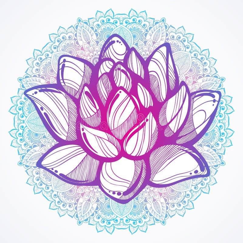 Vektor hand-dragen härlig illustration av den Lotus blomman över den runda Mandalamodellen Buddistiska andliga motiv Tatueringkon stock illustrationer