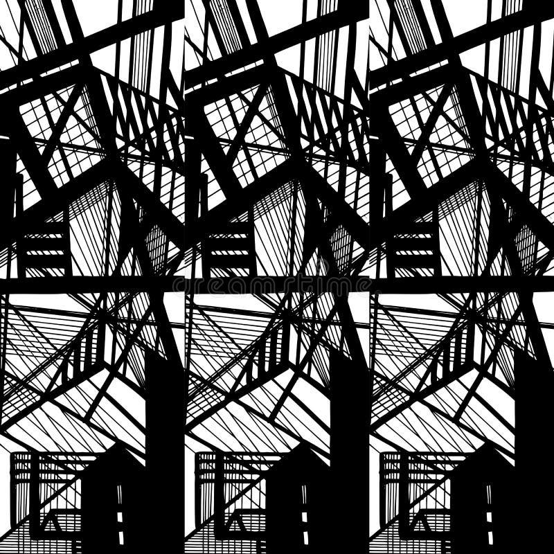 Vektor hand-dragen sömlös modell med den abstrakta stads- prydnaden vektor illustrationer