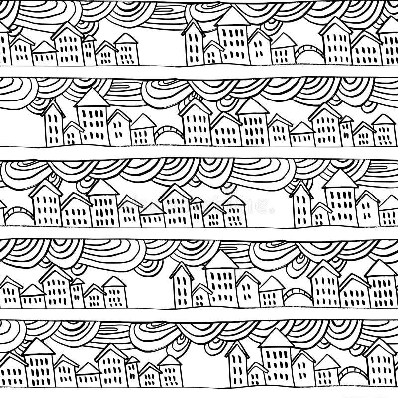 Vektor hand-dragen utomhus- husmodell vektor illustrationer