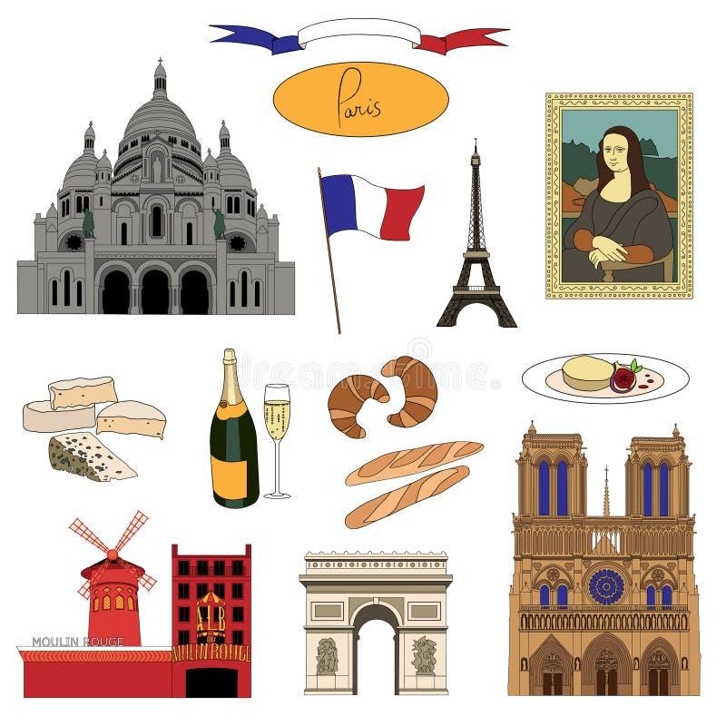 Vektor hand-drog Paris gränsmärken och färgrik uppsättning för matillustration vektor illustrationer