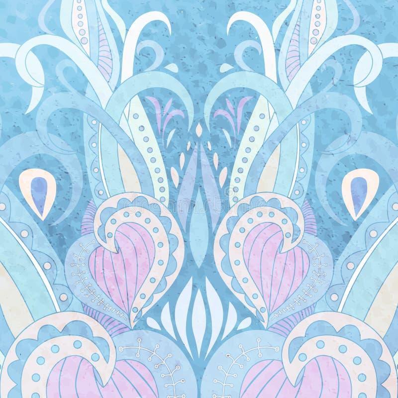 Vektor-Hand gezeichnete Gekritzel-Mandala Ethnisch mit bunter Verzierung Blaue Pastellfarben, Hintergrund gekritzel lizenzfreie stockbilder