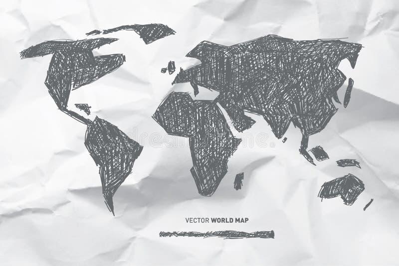 Vektor-Hand gezeichnete Weltkarte vektor abbildung