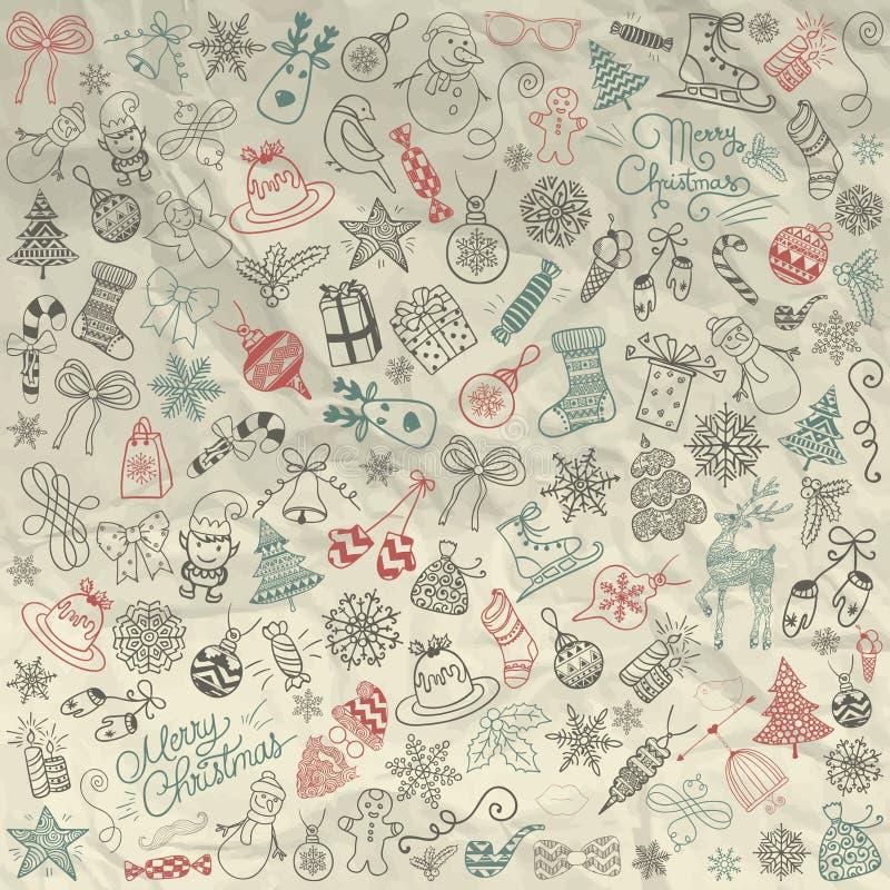 Vektor-Hand gezeichnetes künstlerisches Weihnachten kritzelt Clipart lizenzfreie abbildung