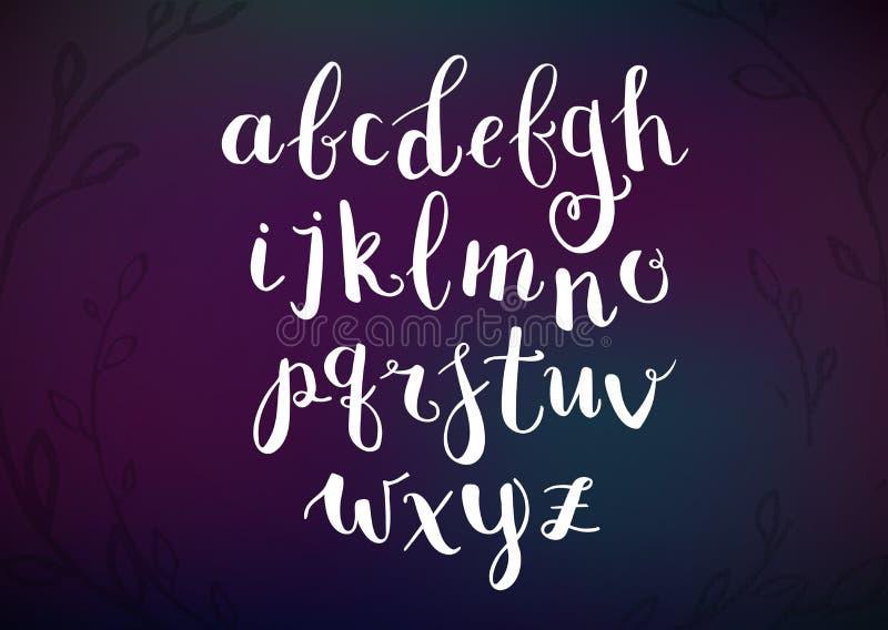 Vektor-Hand gezeichnetes Skript-Alphabet Briefe geschrieben mit einer Bürste vektor abbildung