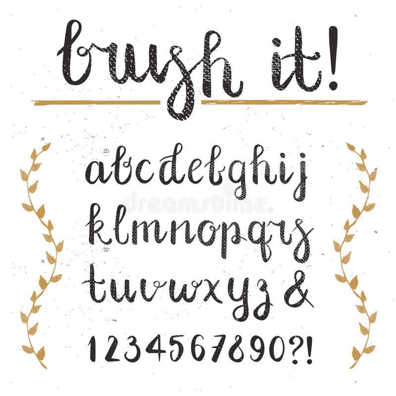 Vektor-Hand gezeichnetes Skript-Alphabet Briefe geschrieben mit einer Bürste lizenzfreie abbildung