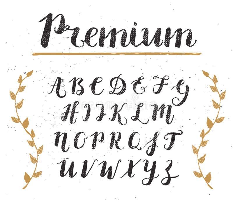 Vektor-Hand gezeichnetes Skript-Alphabet Briefe geschrieben mit einer Bürste stock abbildung
