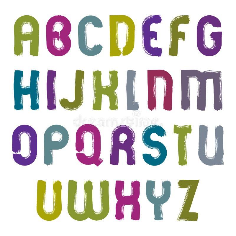 Vektor hand-målade färgrika bokstäver på vit backgroun royaltyfri illustrationer