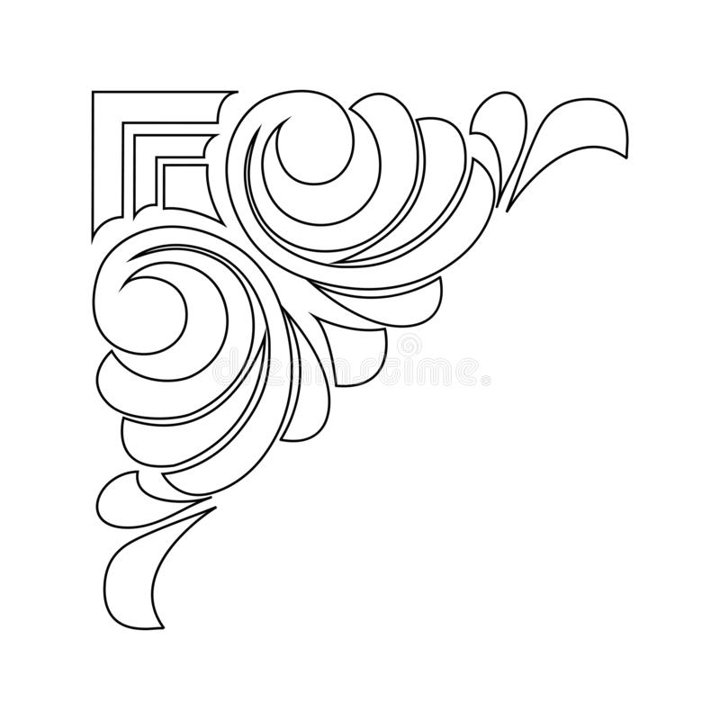 Vektor handgemalt Retro- Musterantiken-Art Acanthus stock abbildung