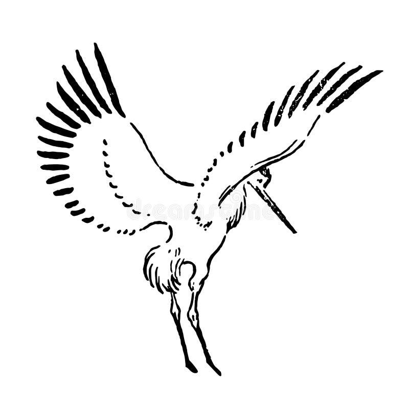 Vektor-Handgezogene Skizze der Storchillustration auf weißem Hintergrund lizenzfreie abbildung
