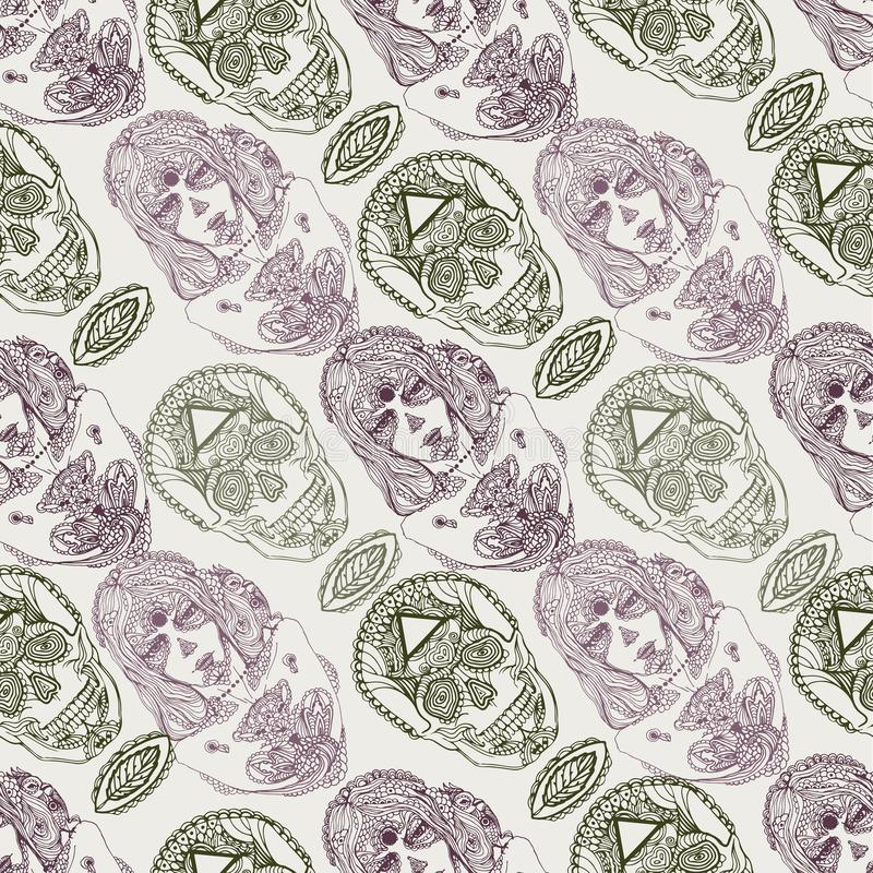 Vektor-Handgezogene Skizze des Mädchenporträts dia de Los Muertos der nahtlosen Musterillustration auf weißem Hintergrund vektor abbildung