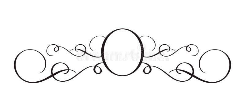 Vektor-Handgezogenes kalligraphisches Trennzeichen Frühling blühen Gestaltungselement Heller Artmit blumendekor für Grußkarte stock abbildung