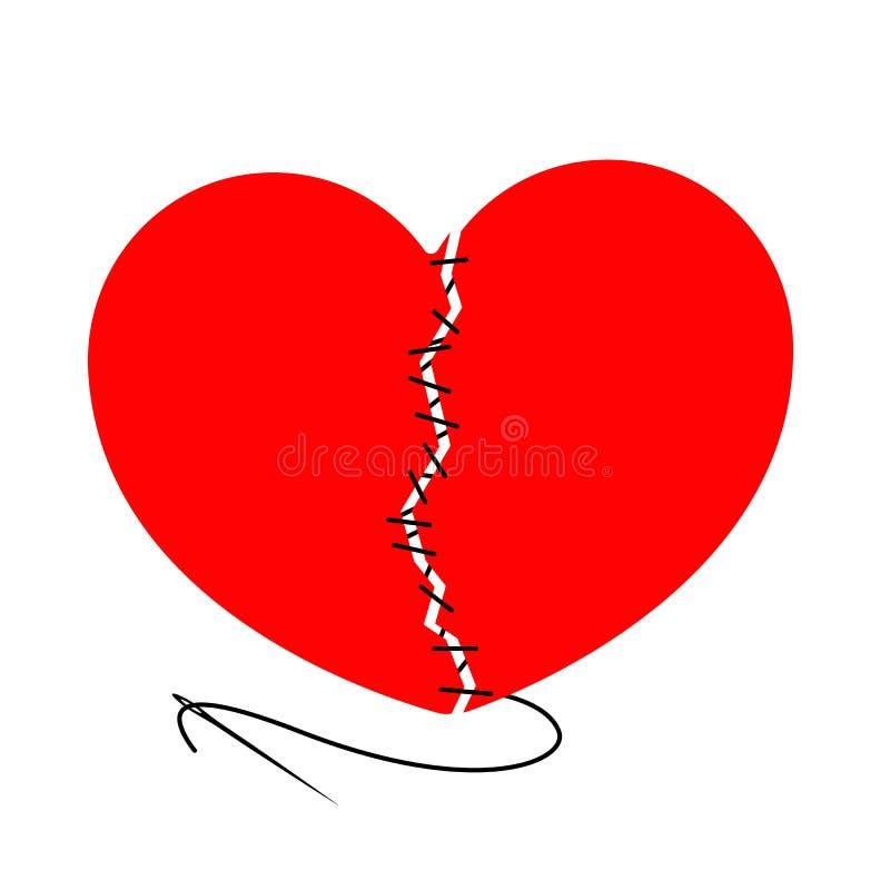 Vektor heftiges Herz und genäht mit schwarzer Fadennadel Das Gestaltungselement wird auf einem hellen Hintergrund lokalisiert lizenzfreie abbildung