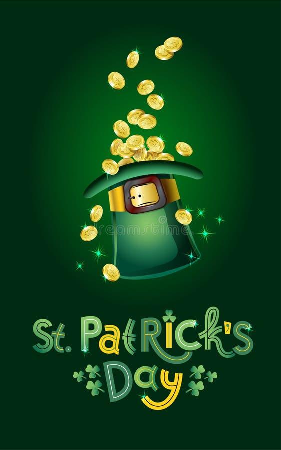 Vektor-Heiliges Patricks-Tageskarte, Hut voll von goldenen Münzen, Schatz des Kobolds Beschriften Text glücklichen Tages St. Patr lizenzfreie abbildung
