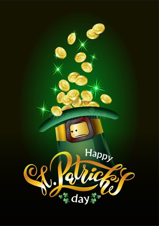 Vektor-Heiliges Patricks-Tageskarte, Hut voll von goldenen Münzen, Schatz des Kobolds Beschriften Text glücklichen Tages St. Patr stock abbildung