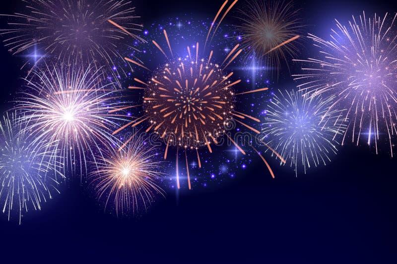 Vektor-hell bunte Feuerwerke auf Hintergrund des nächtlichen Himmels lizenzfreie stockfotografie