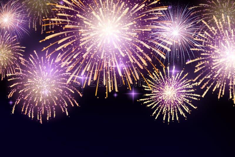 Vektor-hell bunte Feuerwerke auf Hintergrund des nächtlichen Himmels stockbild