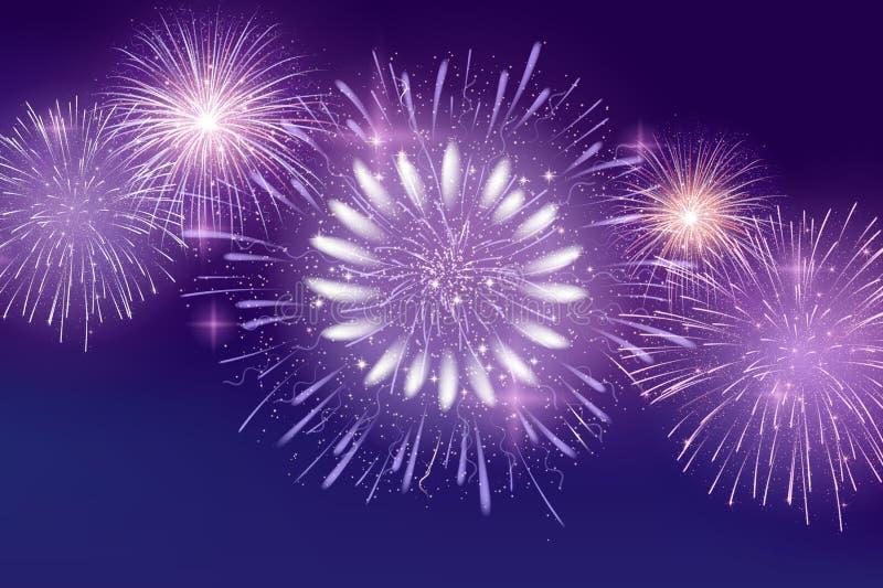 Vektor-hell bunte Feuerwerke auf Hintergrund des nächtlichen Himmels lizenzfreies stockfoto