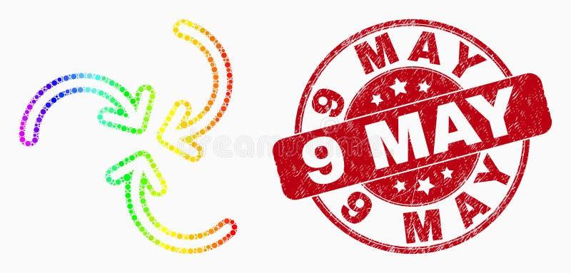 Vektor heller Dot Swirl Arrows Icon und am 9. Mai Dichtung beunruhigen lizenzfreie abbildung