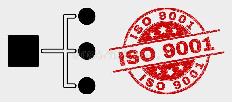 Vektor-Hierarchie-Ikone und Bedrängnis Stempel ISO 9001 vektor abbildung