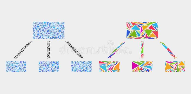 Vektor-Hierarchie-Mosaik-Ikone von Dreieck-Elementen lizenzfreie abbildung