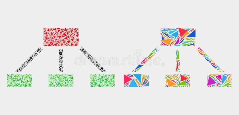 Vektor-Hierarchie verbindet Mosaik-Ikone von Dreieck-Elementen lizenzfreie abbildung