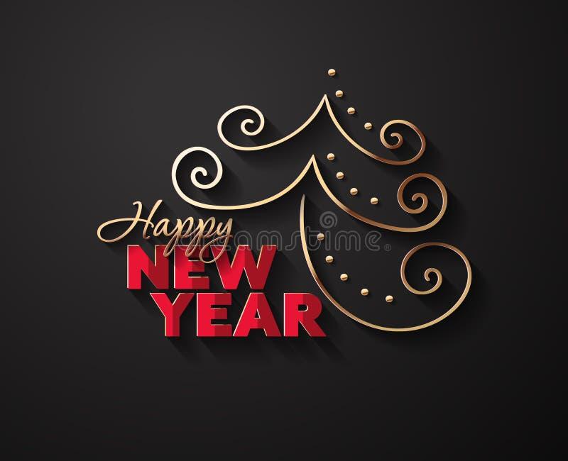 Vektor-Hintergrund für neues Jahr mit Chistmass-Baum stockbild