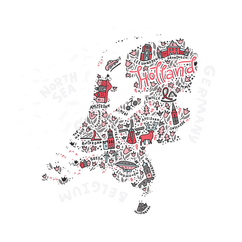 Vektor Holland Map stock abbildung
