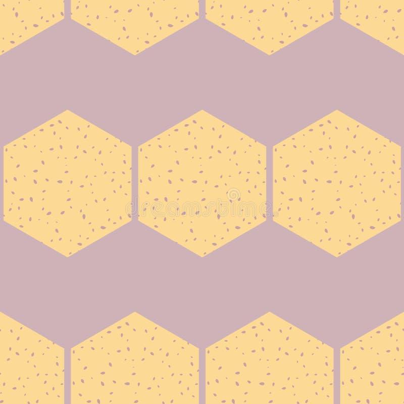 Vektor Honey Comb Abstract på purpurfärgad sömlös modellbakgrund royaltyfri illustrationer