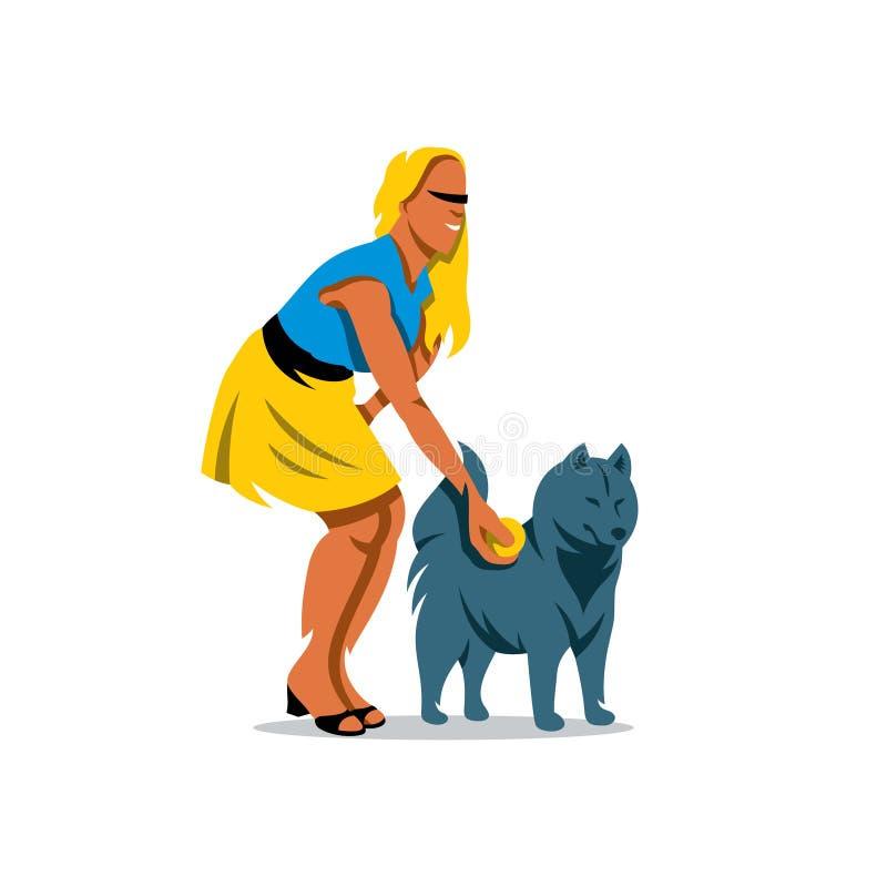 Vektor-Hundetrainings-Karikatur-Illustration lizenzfreie abbildung