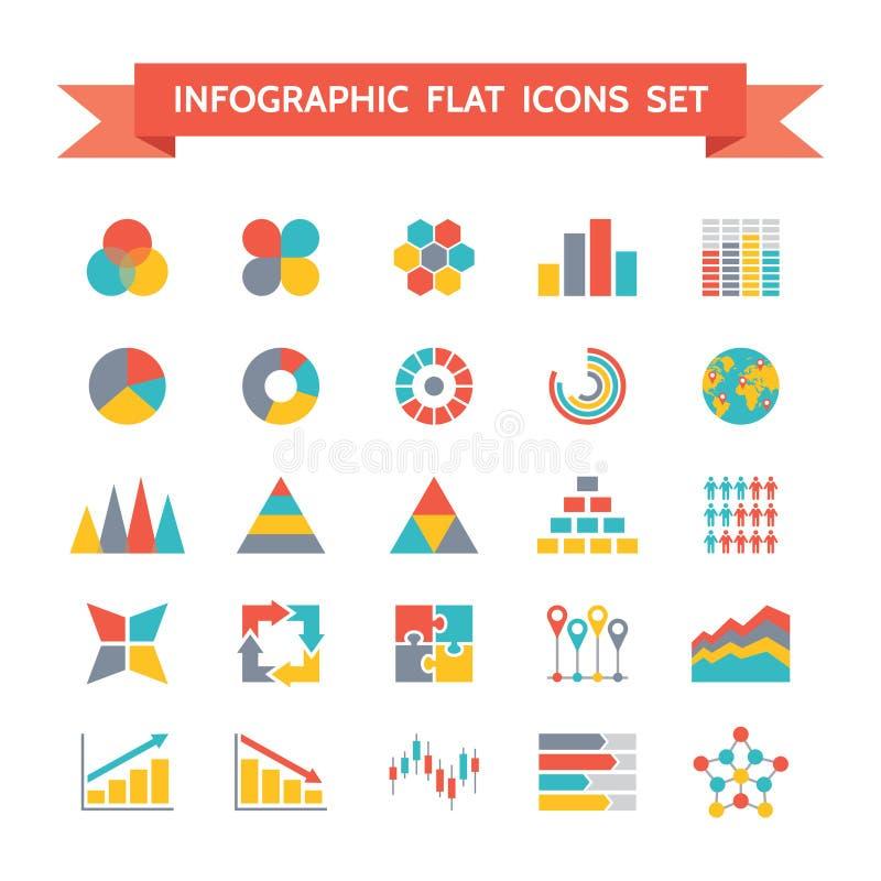 Vektor-Ikonen eingestellt von Infographic im flachen Design-Schweinestall stock abbildung