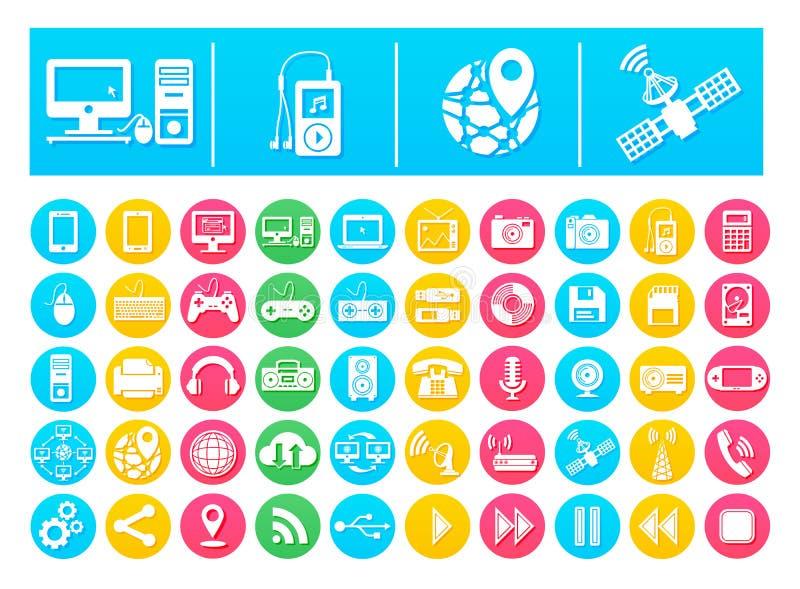 Vektor-Ikonen-Satz-Geräte und Technologie flach in den bunten Kreisen lizenzfreie abbildung