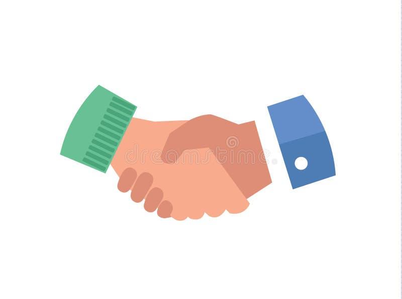 Vektor-Ikonenillustration der Handerschütterung flache Personengesellschaftszusammenarbeitssymbol, Abkommen, das Vereinbarungskon stock abbildung