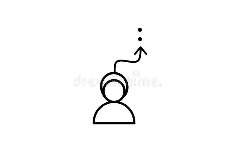 Vektor Ikonenperson und Bewegungsrichtung Illustration des Pfeiles oben Bilderfolg Flaches Design lizenzfreie abbildung