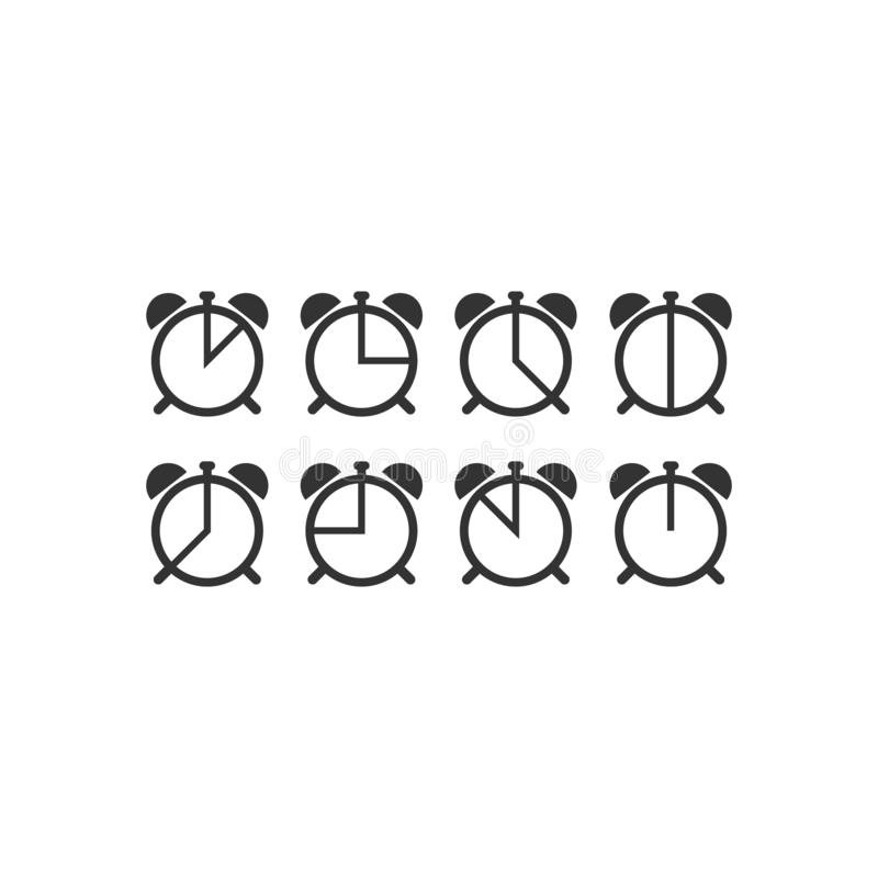 Vektor-Ikonensatz der Stoppuhrskalauhr einfacher lizenzfreie abbildung