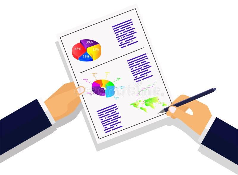 Vektor illustrati Gesch?ftsstrategieberechnungen und -planung infographic auf einem farbigen Hintergrund vektor abbildung