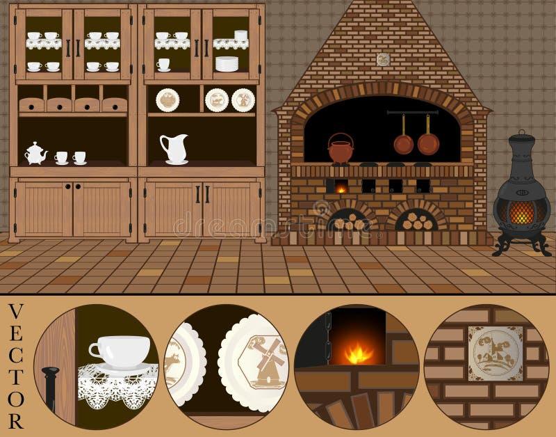 vektor Illustration av ett gammalt traditionellt (holländskt) kök vektor illustrationer