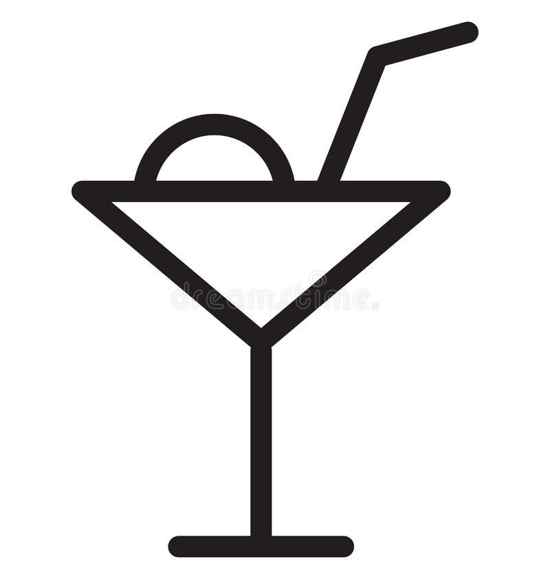 Vektor-Illustration der Cocktail-einzelnen Zeile lizenzfreie abbildung