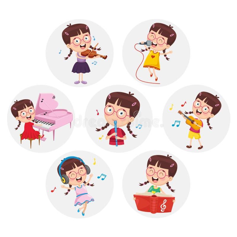 Vektor-Illustration der kleines Mädchen-Performing Art lizenzfreie abbildung