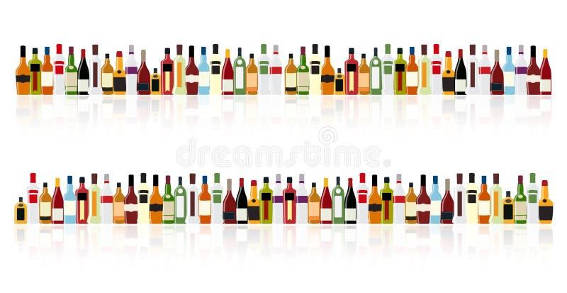 Vektor-Illustration der Schattenbild-Alkohol-Flasche lizenzfreie abbildung