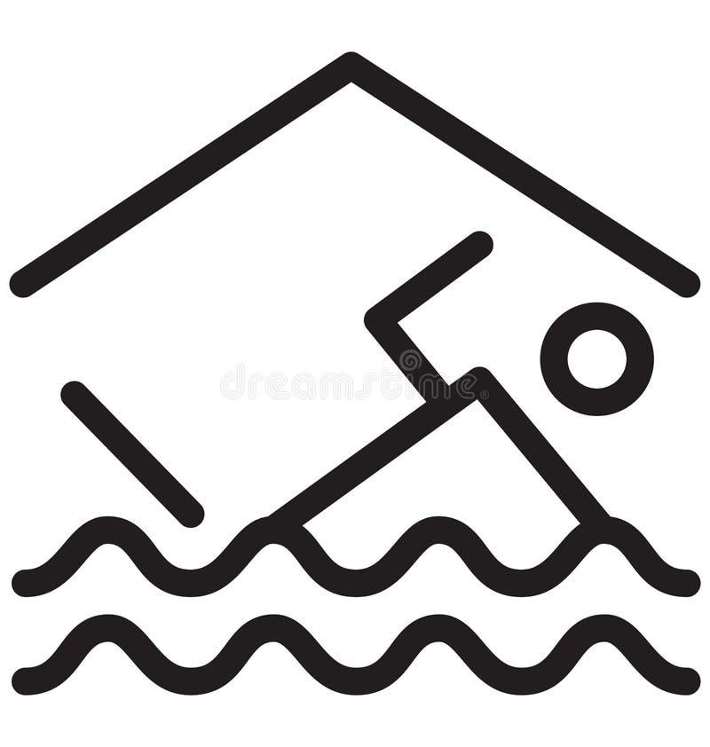 Vektor-Illustration der Swimmingpool-einzelnen Zeile stock abbildung